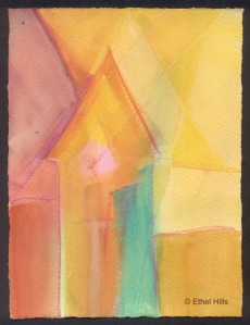 "Ethel Hills - Untitled - Watercolor, Gouache & Watercolor Crayon on paper - 7 1/2"" x 5 1/2"""