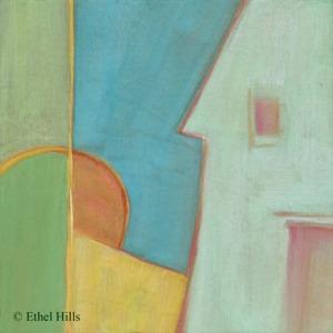 "Ethel Hills - Shelter #4 - Gouache on Paper on MDF - 6"" x 6"""
